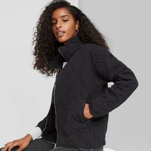 Wild Fable Black Quilted Full Front Zip Up Jacket